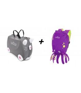Trunki komplet kofer sivi i ruksak ljubičasti
